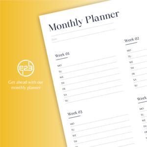 B2B Hub monthly planner