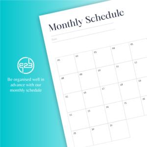 B2B Hub monthly schedule
